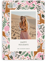 This is a pink holiday photo card by Made by Mosa called Holiday Forest Photo with standard printing on smooth signature in standard.