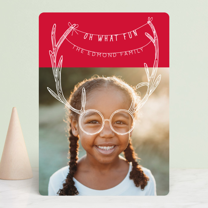 """""""Holiday Antlers"""" - Funny Holiday Photo Cards in Berry by Baumbirdy."""