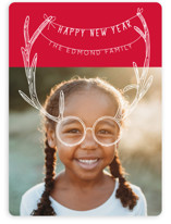 This is a red holiday photo card by Baumbirdy called Holiday Antlers with standard printing on smooth signature in standard.