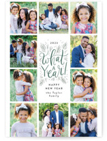 This is a green holiday photo card by Alethea and Ruth called What a year grid with standard printing on smooth signature in standard.