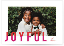 This is a pink holiday photo card by AK Graphics called joyful colorblock with standard printing on smooth signature in standard.