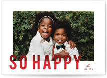 This is a red holiday photo card by AK Graphics called joyful colorblock with standard printing on smooth signature in standard.