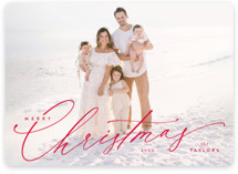 This is a red holiday photo card by Kristie Kern called Festive Jot with standard printing on smooth signature in standard.