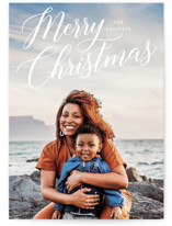 This is a white holiday photo card by Baumbirdy called Merrily Script Overlay with standard printing on smooth signature in standard.