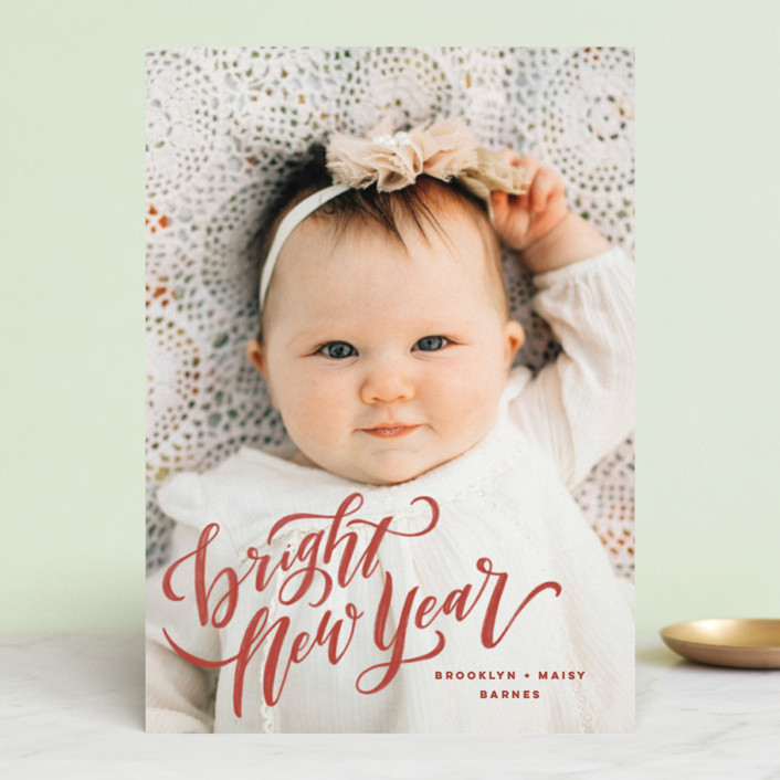 """""""Hand-Lettered Merry Christmas"""" - Holiday Photo Cards in Flame by Wildfield Paper Co.."""