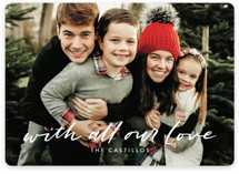 This is a white holiday photo card by Tanya Lee of Frooted Design called sending all our LOVE with standard printing on pearlescent in standard.