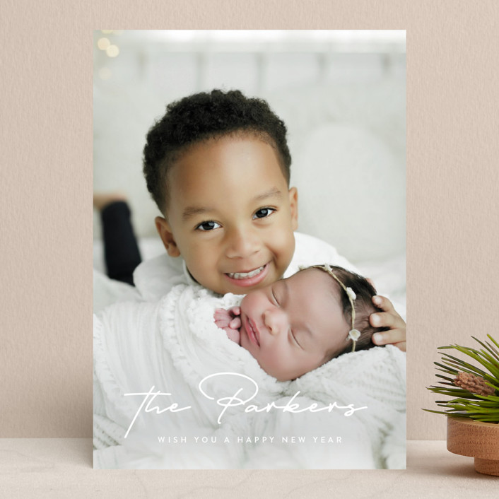 """""""Stylish Surname"""" - Holiday Photo Cards in Snow by Ekko Studio."""