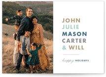 This is a blue holiday photo card by Alaina Cherup called Pile Up with standard printing on smooth signature in standard.