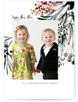This is a black holiday photo card by Eve Schultz called Conifer Cascade with standard printing on smooth signature in standard.