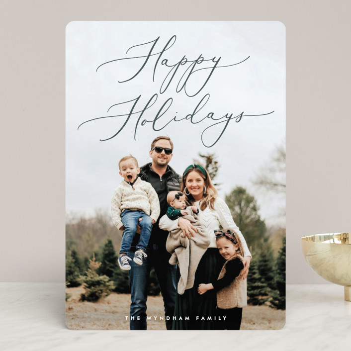 """Understated Elegance"" - Holiday Photo Cards in Sage by Ekko Studio."
