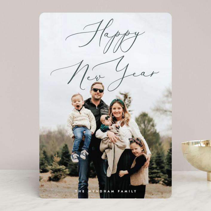 """Understated Elegance"" - Holiday Photo Cards in Sage by Ekko Studio."
