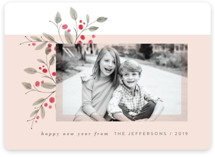 This is a red holiday photo card by JeAnna Casper called Corner Floral with standard printing on smooth signature in standard.
