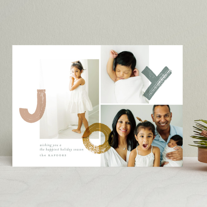 """bouncing brushed joy"" - Holiday Photo Cards in Tinsel by Aspacia Kusulas."