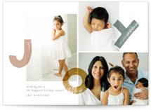 This is a grey holiday photo card by Aspacia Kusulas called bouncing brushed joy with standard printing on smooth signature in standard.