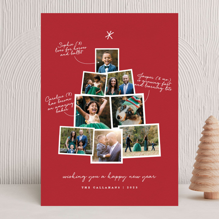 """Photo Tree"" - Holiday Photo Cards in Cranberry by Shari Margolin."