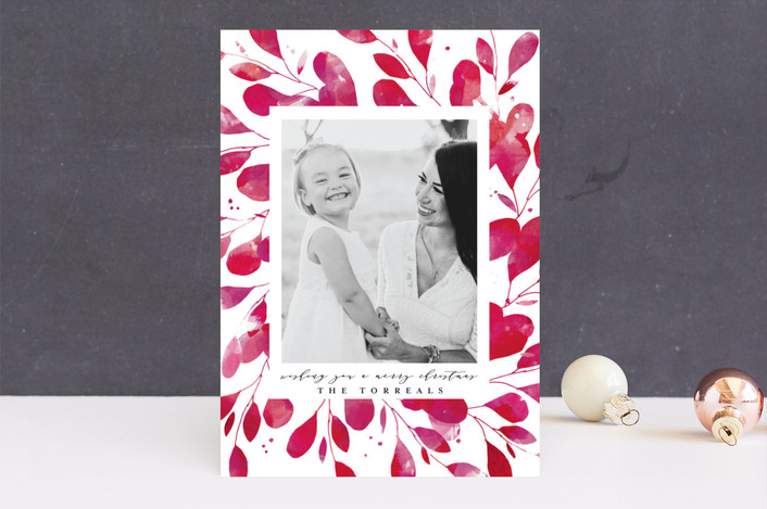 """Holiday Botanical Frame"" - Bohemian Holiday Photo Cards in Holly by Lori Wemple."