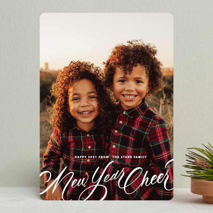 """Script Christmas"" - Holiday Photo Cards in Winter by Up Up Creative."
