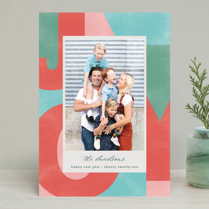 """""""A Block of Joy"""" - Modern Holiday Photo Cards in Candy Apple by Erin Niehenke."""