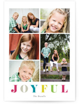 This is a colorful holiday photo card by Stacey Meacham called Multi color joyful with standard printing on smooth signature in standard.