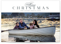 This is a blue holiday photo card by Melanie Kosuge called Classically with standard printing on smooth signature in standard.