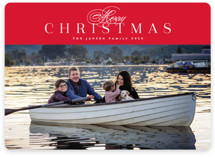 This is a red holiday photo card by Melanie Kosuge called Classically with standard printing on smooth signature in standard.