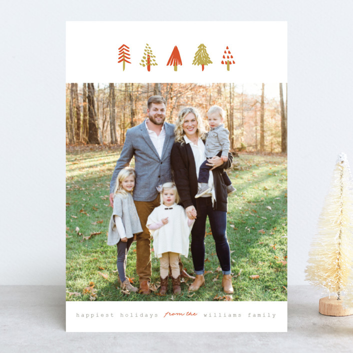 """""""Tiny Trees"""" - Holiday Photo Cards in Pumpkin by Pistols."""