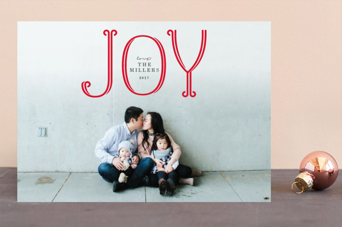 """Flourished Joy"" - Holiday Photo Cards in Candy Cane by Michelle Poe."