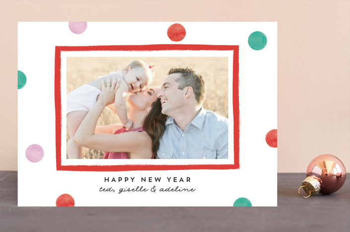 """Polka Dot Days"" - Holiday Photo Cards in Apple Candy by Bonjour Berry."