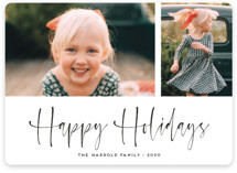This is a white holiday photo card by Kaydi Bishop called A Scripted Duet with standard printing on smooth signature in standard.