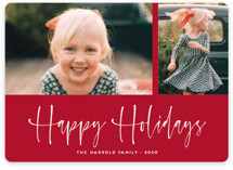 This is a red holiday photo card by Kaydi Bishop called A Scripted Duet with standard printing on smooth signature in standard.