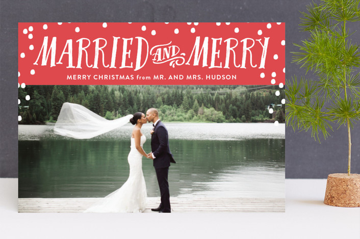 """Married and Merry"" - Funny Holiday Photo Cards in Cherry by Nicole Barreto."