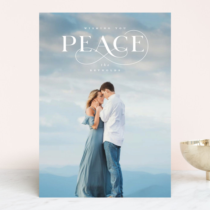 """Wishing You Peace"" - Holiday Photo Cards in Aquamarine by Ink and Letter."