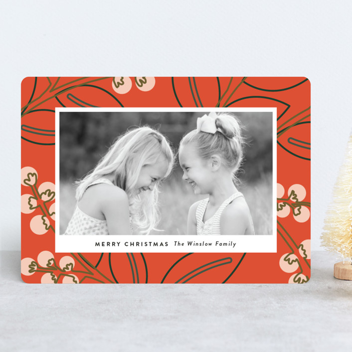 """Modernism"" - Modern Holiday Photo Cards in Scarlet by Genna Cowsert."