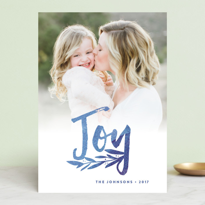 """""""Vivid Rejoice"""" - Holiday Photo Cards in Blue Velvet by Olivia Raufman."""