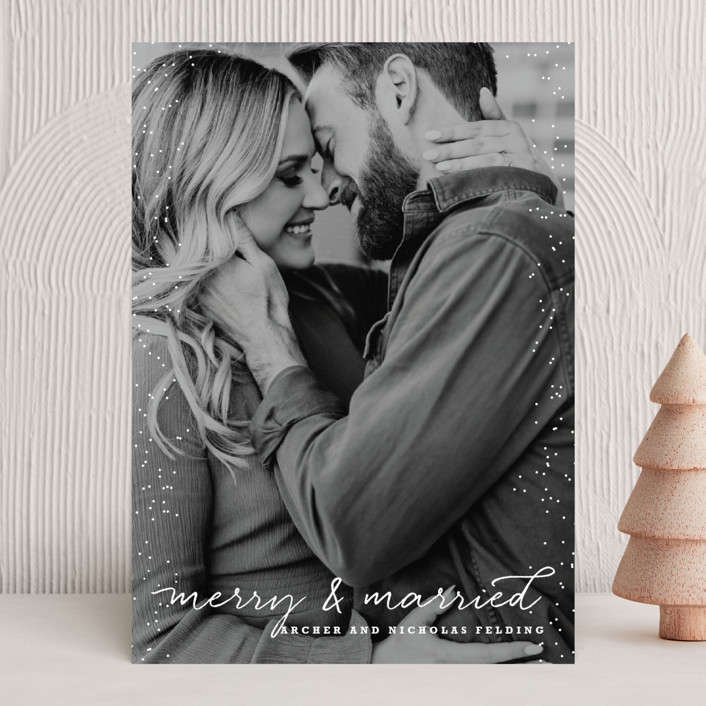 """Merry and Married"" - Holiday Photo Cards in Icing by Design Lotus."