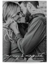 This is a white holiday photo card by Design Lotus called Merry and Married with standard printing on smooth signature in standard.