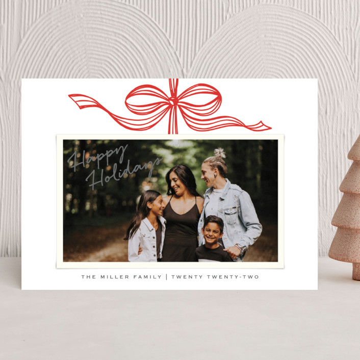 """Tied with a bow"" - Holiday Photo Cards in Red wrapping paper by SimpleTe Design."