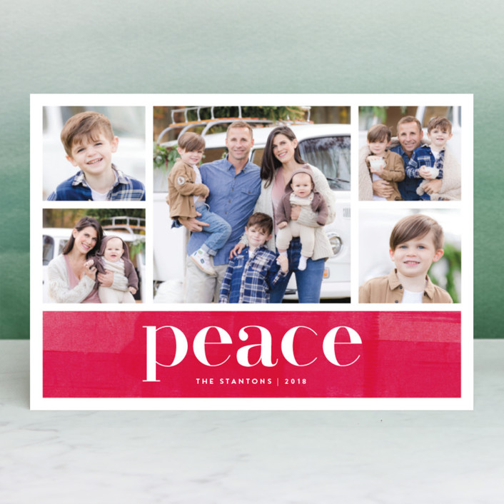"""Bright Merry"" - Holiday Photo Cards in Peppermint by Kelly Nasuta."