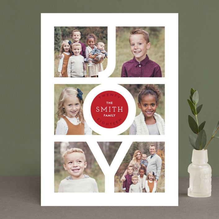 """Modern Family Joy"" - Holiday Photo Cards in Ruby by Playground Prints."