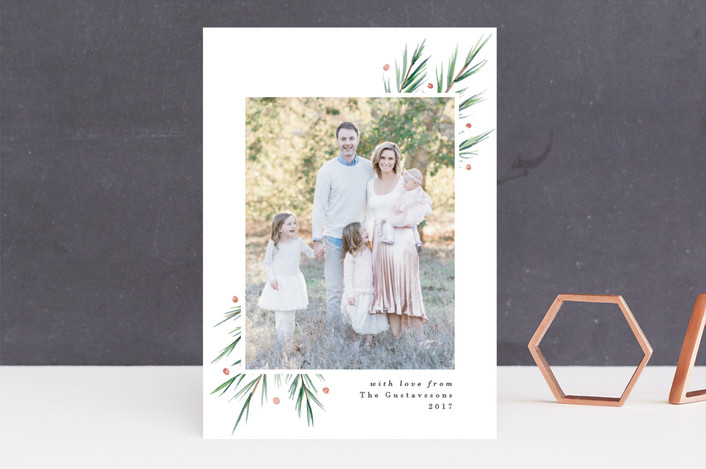 """Soft Pine"" - Holiday Photo Cards in Balsam Fir by Everett Paper Goods."