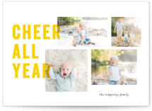 This is a yellow holiday photo card by Bethan called Sunshine Cheer with standard printing on smooth signature in standard.