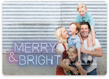 This is a blue holiday photo card by Simona Camp called Bright Lights with standard printing on smooth signature in standard.