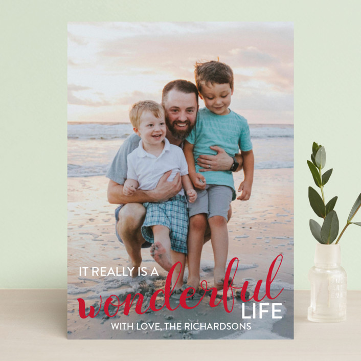 """It really is a wonderful life"" - Holiday Photo Cards in Cardinal by Leah Ragain."