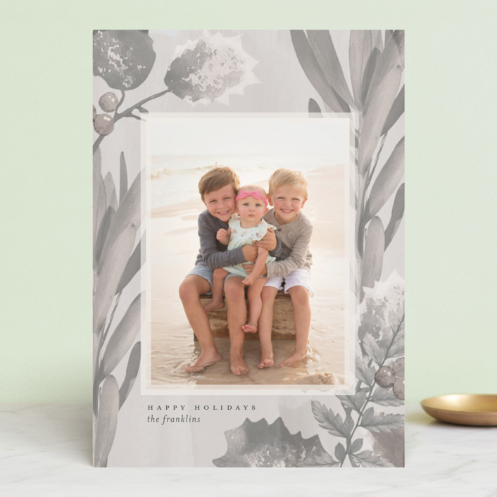 """""""Pastel Holly"""" - Bohemian Holiday Photo Cards in Blush by Baumbirdy."""