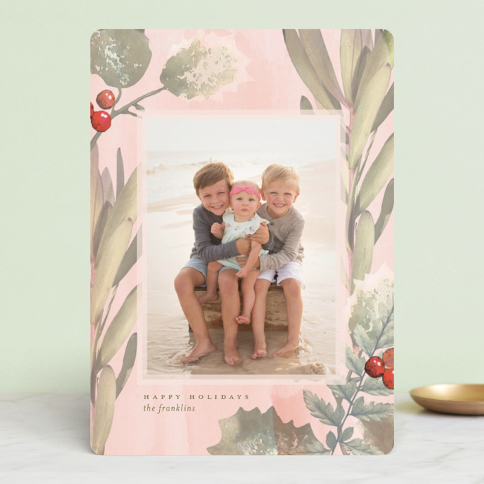 """Pastel Holly"" - Bohemian Holiday Photo Cards in Sour Apple by Baumbirdy."