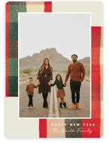 This is a red holiday photo card by Keen Peachy called Warm Flannel with standard printing on smooth signature in standard.