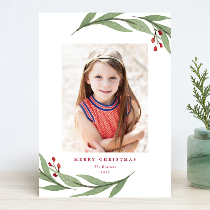"""Elegant Foliage"" - Holiday Photo Cards in Navy by Stacey Meacham."
