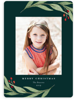 This is a green holiday photo card by Stacey Meacham called Elegant Foliage with standard printing on smooth signature in standard.