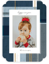 This is a blue holiday photo card by Rebecca Durflinger called abstract plaid with standard printing on smooth signature in standard.