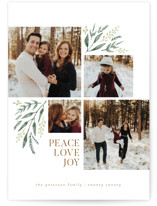 This is a white holiday photo card by Robert and Stella called Holiday Boughs with standard printing on smooth signature in standard.